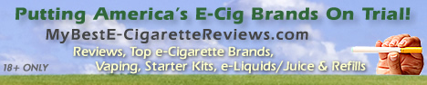 My Best e-Cigarette Reviews - Putting America's E-Cig Brands On Trial! - Custom WordPress Site Design & Header Graphics